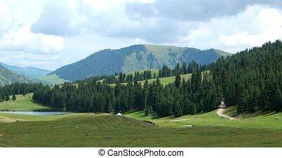Lake in the mountains. Chon-Ak-Suu. Grigoriev Gorge. Issyk...