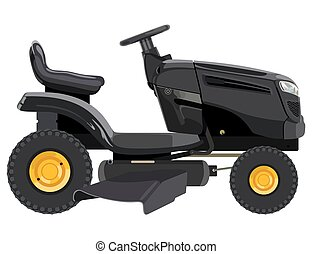 Black lawnmower on a white background