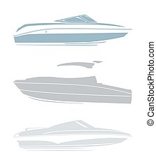 Set of logos for yachts and boats