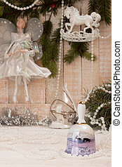 Christmas New Year holiday concept. Bell with deers, white...