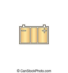 Car battery computer symbol - Car battery Gold vector icon...