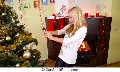 mom and kids making selfie at christmas tree - mom and kids...