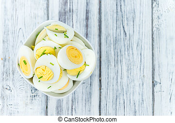 Halved Eggs (selective focus) - Portion of halved Eggs as...