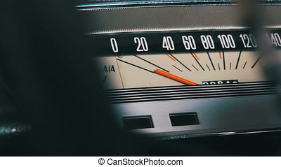 Retro car speedometer. - Vintage speedometer and instrument...