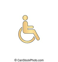 Disabled computer symbol - Disabled Gold vector icon with...