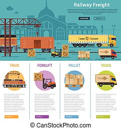 Railway Freight infographics with flat Icons Set like train,...