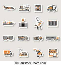 Cargo Transport and Packaging two color sticker set - Cargo...