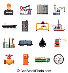 Oil industry Flat Icons Set - Oil industry extraction...