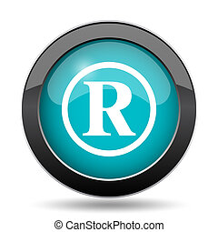 Registered mark icon. Registered mark website button on...