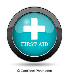 First aid icon. First aid website button on white...