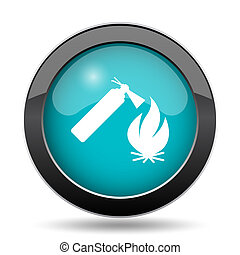 Fire icon. Fire website button on white background.