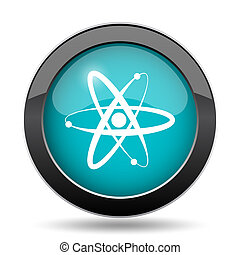 Atoms icon. Atoms website button on white background.