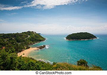 Yanui beach and Promthep cape in Phuket, Thailand.