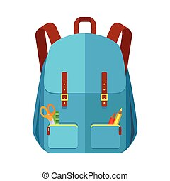 Blue Backpack Schoolbag Icon in Flat Style - Blue backpack...