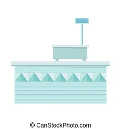 Supermarket Store Counter Desk. Shop Equipment. -...