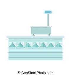 Supermarket Store Counter Desk. Shop Equipment. -...