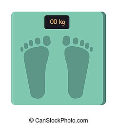 Bathroom Foot Scale Isolate. Weight Control Vector -...