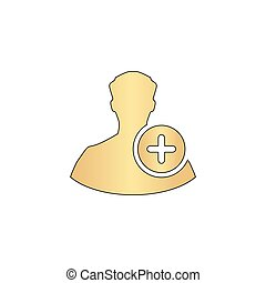Add user computer symbol - Add user Gold vector icon with...