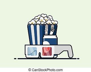 Popcorn, coke and 3D Glasses vector icon.