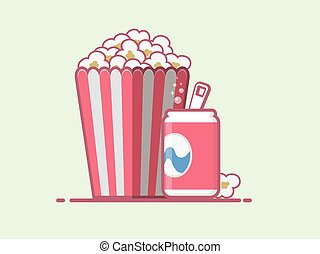 Popcorn and coke vector icon.