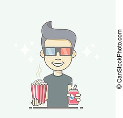 Boy wearing 3D glasses holding coke and popcorn box.