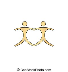 Pair computer symbol - Pair Gold vector icon with black...