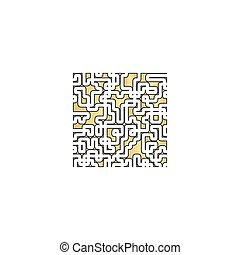 Labyrinth computer symbol - Labyrinth Gold vector icon with...