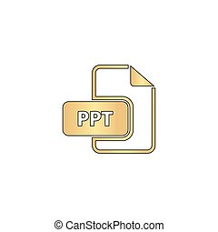 PPT computer symbol - PPT Gold vector icon with black...