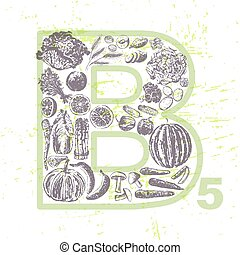 Ink hand drawn fruits and veggies that contain vitamin B5 -...