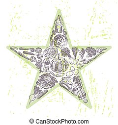 Ink hand drawn veggies star - Healthy eating illustration in...