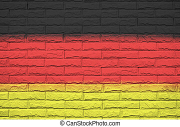 Germany brick wall background, National flag