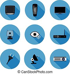 set of flat icons TV