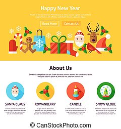 Happy New Year Website Design. Flat Style Vector...