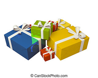 colorful gift box on white background