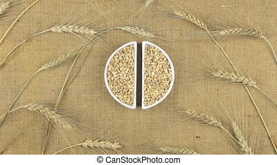 Zoom dish with pearl barley grains and spikelets of wheat lying on sackcloth.
