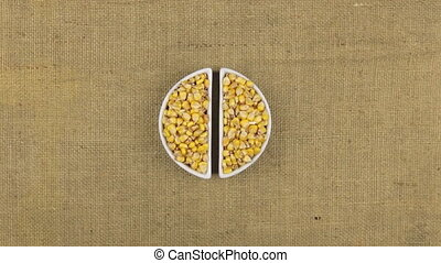 Zoom dish with corn grains and spikelets of wheat lying on sackcloth.