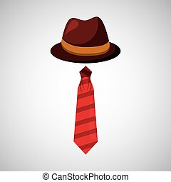 cartoon tie hat father day symbol