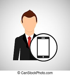 cartoon dad father day smartphone vector illustration eps 10
