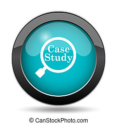 Case study icon. Case study website button on white...