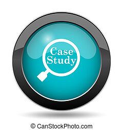 Case study icon. Case study website button on white...