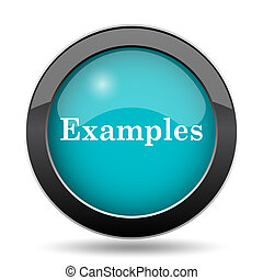 Examples icon. Examples website button on white background.
