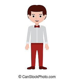 man with formal shirt and bowtie vector illustration