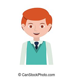 half body redhead man with formal suit and tie