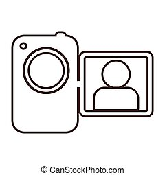 monochrome contour camcorder with lcd viewer vector...