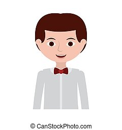 half body man with formal shirt and bowtie vector...