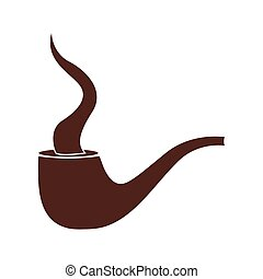silhouette brown of pipe with smoke