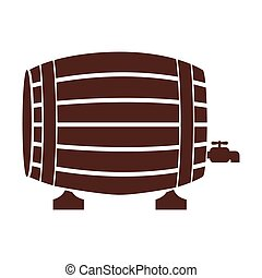 silhouette with Liquor barrel in brown color vector...