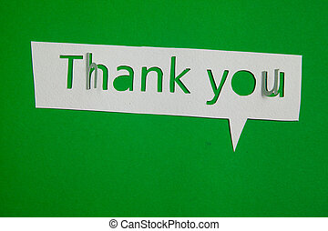 Thank you cut out from paper - Speech bubble Thank you cut...