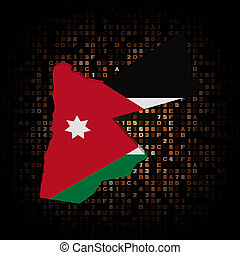 Jordan map flag on hex code illustration