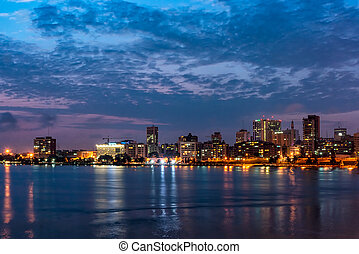 Downtown Abidjan at night - Night View of the Cityscape of...